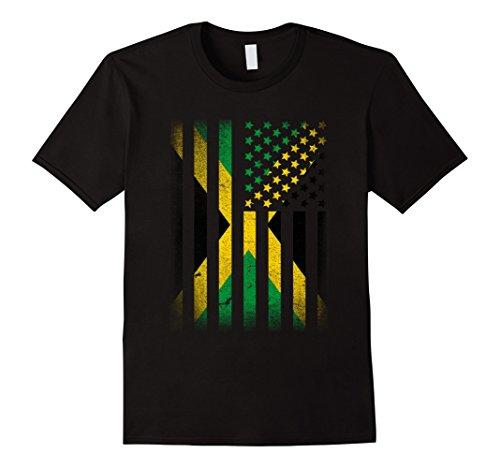 Mens Jamaican American Flag T-shirt Jamaica Usa XL Black