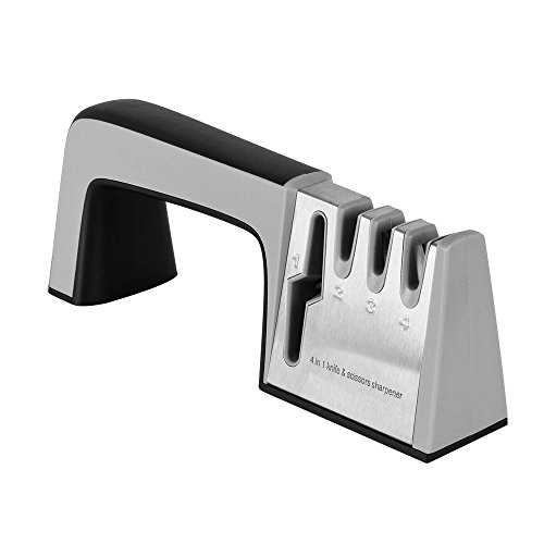 4 in 1 Knife & Scissors Sharpener, 5 Seconds Fast Knife Blade, Sharp as New...