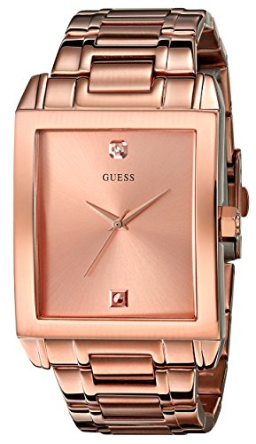 - GUESS Men's U0102G2 Rose Gold-Tone Rectangular Diamond Accent Watch