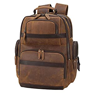 TIDING Men's Leather Backpack Vintage 15.6 Inch Laptop Bag Large Capacity Business Travel Hiking Shoulder Daypacks