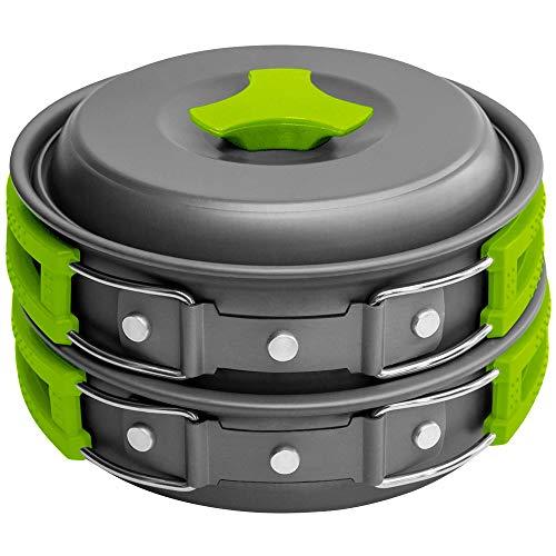 Gold Armour 10-17Pcs Camping Cookware Mess Kit Backpacking Gear & Hiking Outdoors Bug Out Bag Cooking Equipment Cookset   Lightweight, Compact, Durable Pot Pan Bowls (10pcs (Green))