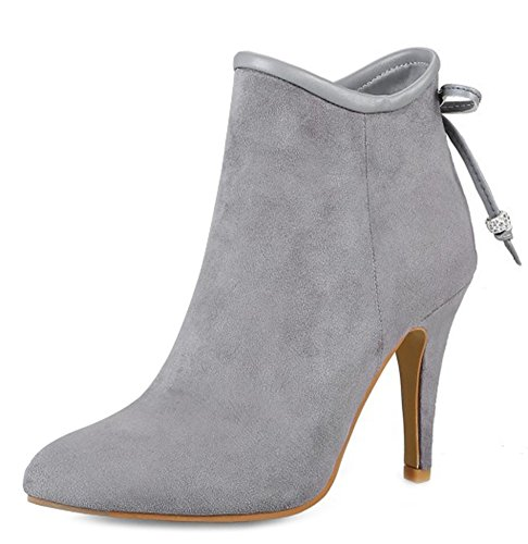 Side Stiletto Booties Gray Aisun Zipper Stylish Heels High Pointy Women's Toe 0w17IA