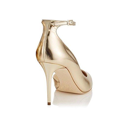 oro gold Fibbia YWNC Banchetto Scarpe 41 Party laterale grandi singole a caviglia Donna Punta Lattice punta sposa Tacchi Scarpe Scarpe alti Cinturino alla da TqAIBxrwTU