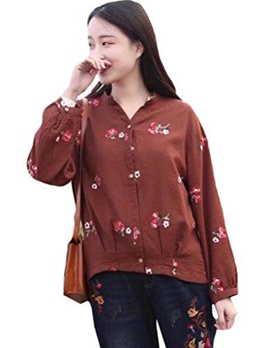 MatchLife Femme Casual Top Floral T-Shirt Haut Classique Marron