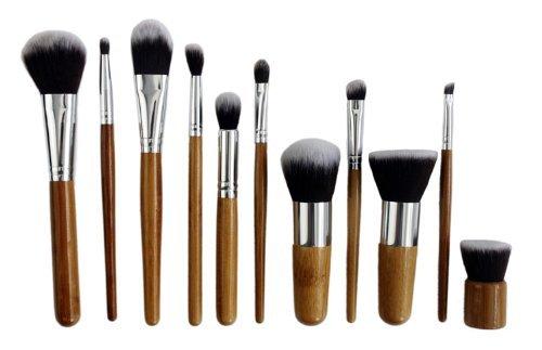 DragonPad 11 Pcs Maquillage poignée Brush Set Kabuki teint poudre blush cosmétique Bamboo