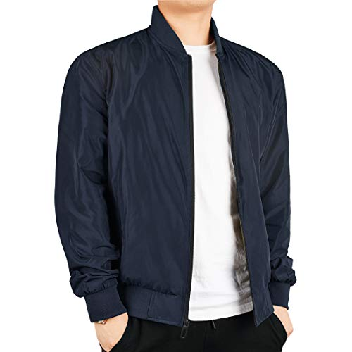 WEEN CHARM Men's Lightweight Bomber Jacket Windbreaker Softshell Flight Bomber Jacket Coat Blue