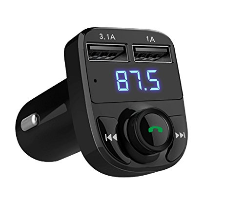 Handsfree Call Car Charger,Wireless Bluetooth FM Transmitter Radio Receiver&Mp3 Music Stereo Adapter,Dual USB Port Charger compatible for iphone,ipad,Samsung Galaxy,LG,HTC,Smartphone