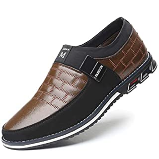 COSIDRAM Men Casual Shoes Slip ons Loafers Sneakers Breathable Comfort Walking Shoes Fashion Driving Shoe Luxury Leather Shoes for Male Business Work Office Dress Outdoor Brown 12