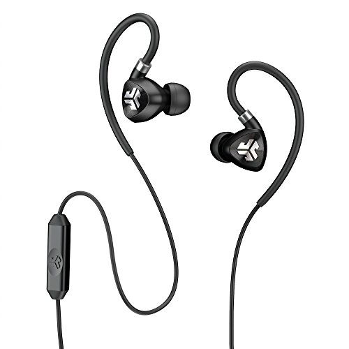 JLab Audio Fit2 Sport Earbuds, Sweatproof, Water Resistant with In-Wire Customizable Earhooks, Guaranteed Fit, GUARANTEED FOR LIFE - Black - Blk Noise Canceling Headphone