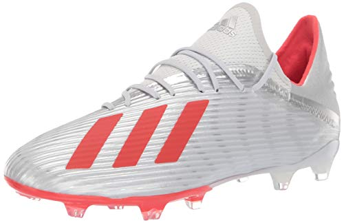 adidas Men's X 19.2 Firm Ground Soccer Shoe, Silver Metallic/hi-res red/White, 7.5 M US