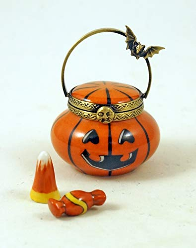 Authentic French Porcelain Hand Painted Limoges Box Halloween Jack'O Lantern Pumpkin Basket with Removable Porcelain Candy - Hand Painted Porcelain Basket