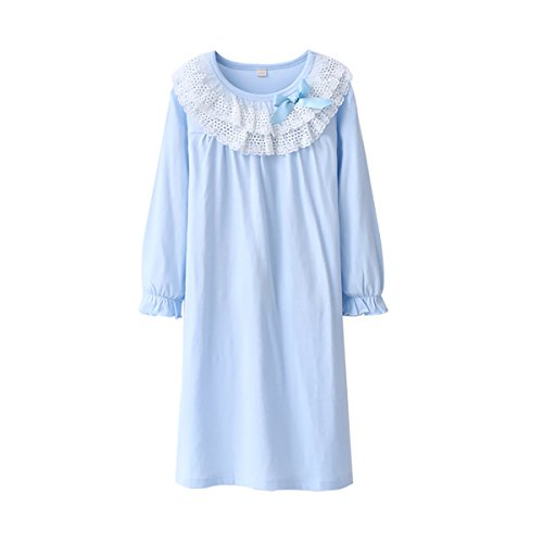 Zegoo Long Sleeve Round Neck Pretty Lace Dress Nightgown and Doll Gown Set