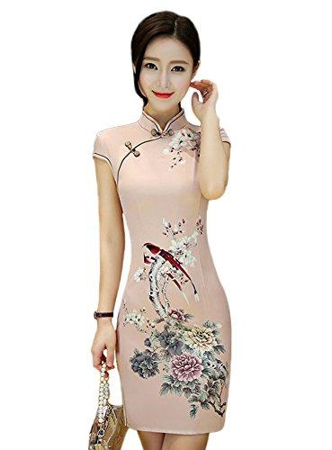Fasbys Women's Chinese Style Mini Dress Qipao Cheongsam Party Dress (L)