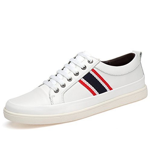 Sneakers Work Lace 42 Leather 2018 Shoes Color Shoes Driving White Black Mens Size Shoes up White Business Breathable Formal New Casual Comfort HUAN xafnYYO