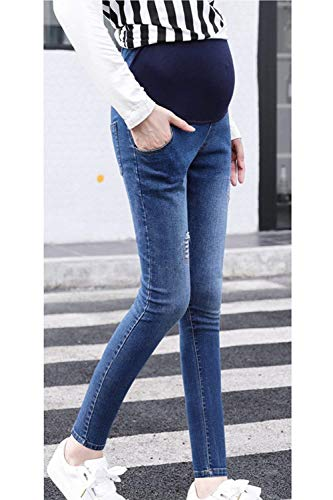 Bolsillos Estirar Huixin Largos Casuales Denim Cintura Fit Ripped Con Blau Pantalones Embarazadas Jeans Slim Alta Stretch CTqOFT