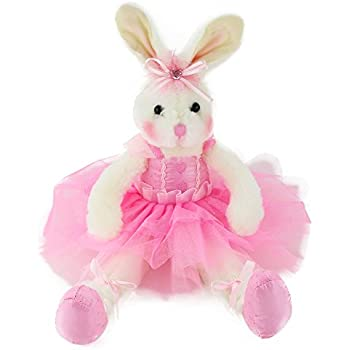 Wewill Original Adorable Plush Ballerina Bunny Stuffed Animal Rabbit Doll 15-Inch (Pink)