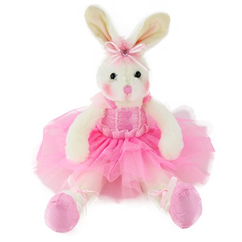 WEWILL Ballerina Bunny Stuffed Animal Adorable Soft Plush Toys Rabbit Doll Girls Gift on Birthday Christmas Festivals, 15-Inch (Pink)]()