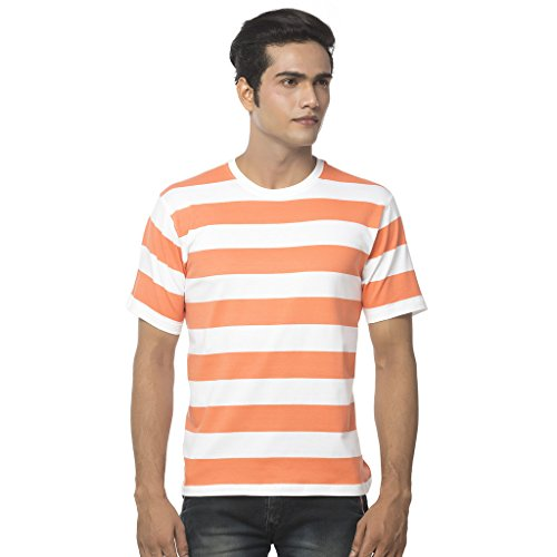 Clifton Fine Jersey Cotton Men's Bold Stripes R-Neck Short Sleeve T-Shirt - Deep Orange - Small Bold Stripe Cotton Shirt