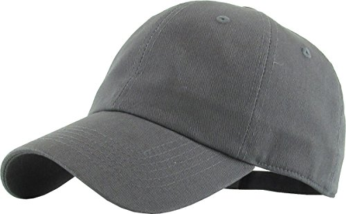 Adjustable Performance Visor - KB-LOW DGY Classic Cotton Dad Hat Adjustable Plain Cap. Polo Style Low Profile (Unstructured) (Classic) Dark Gray Adjustable