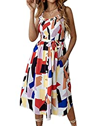5c2ff5c11e7 Women s Dresses - Summer Boho Floral Spaghetti Strap Button Down Belt Swing  A line Midi Dress