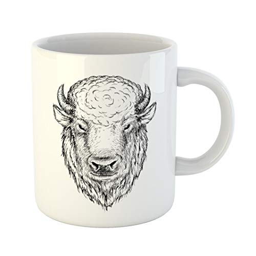 (Emvency Coffee Tea Mug Gift 11 Ounces Funny Ceramic Cow Head of Buffalo Face Bison Bull Graphic Sketch Ink Drawn Drawing Gifts For Family Friends Coworkers Boss Mug)