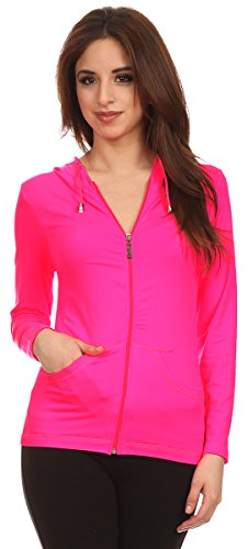 Lotus Lightweight 4-Way Stretch Hooded Active Yoga Fitness Zumba Jacket with Pokets Zip Up (Neon Pink) ()