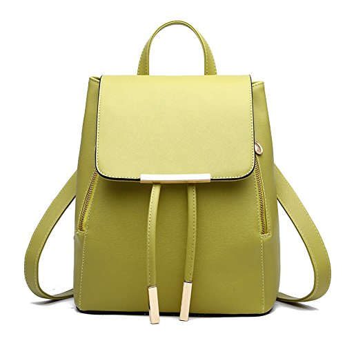 Fashion Green Bags Women Book Backpack Shoulder Bag Soft Leather Drawstring Backpack taTqvaw