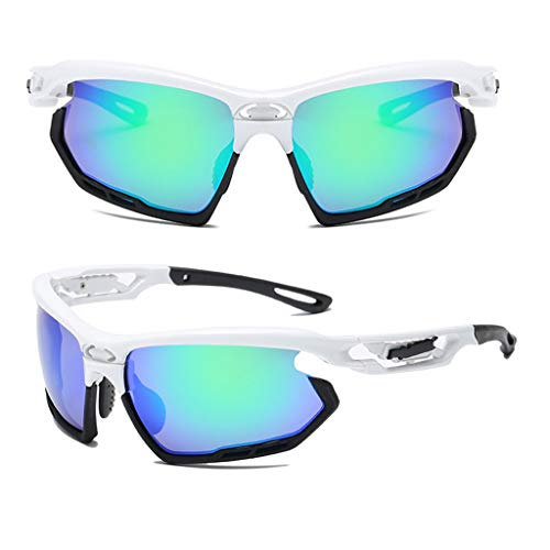YunZyun Polarized Cycling Glasses with Case Professional Polarized Cycling Glasses Casual Sports Goggles Outdoor Sunglasses for Cycling Fishing Golf Baseball (White)