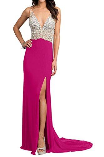 Pink Abendkleider Schwarz La Marie Langes Festlichkleider Partykleider 2017 Steine Ballkleider Chiffon Braut qSqfwxFXP