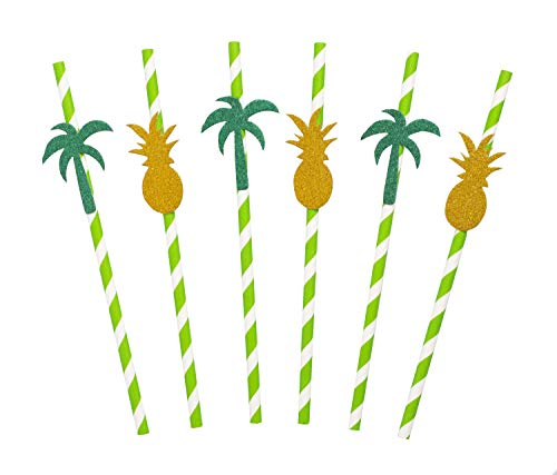 - 50 Pack Tropical Paper Straws with Glitter Palm Tree and Pineapple Shapes and Stripes - Cute Party Decoration Idea for BBQ Cookouts and Beach Birthdays