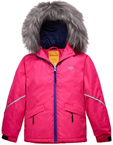 Junior Girls Ski Jacket - Wantdo Girl's Waterproof Ski Jacket Warm Raincoat with Fur Hood Rose Red 14/16
