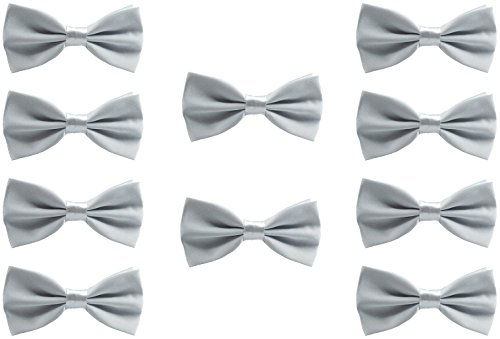 Silver Mens Bowties (Udres Men Formal Tuxedo 10 Pack Solid Color Satin Bow Tie Classic Pre-Tied Bowtie (One Size, Silver))