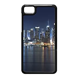Black Berry Z10 Case,Manhattan Panorama At Night High Definition Wonderful Design Cover With Hign Quality Hard Plastic Protection Case