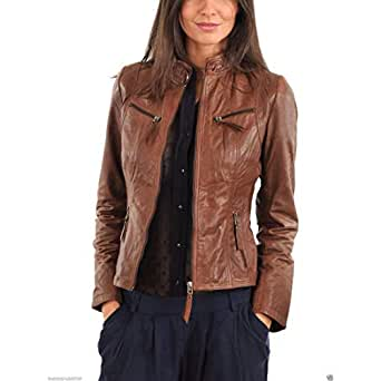 Dillo Leather Motorcycle Bomber Biker Brown Real Leather
