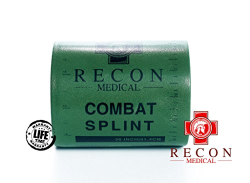 Splints First Aid (Combat Splint- (Olive Green) Recon Medical Combat Splint 36 inches Lightweight Reusable WaterProof First Aid Medical Tactical Registration Card! (1 Pack) (ROLL 4.25x3))