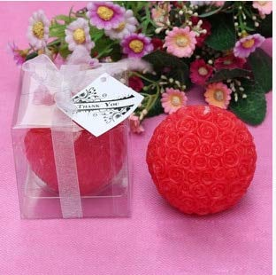 FairOnly 4pcs Wedding Decorative Candles Romantic Rose Ball Flower Candle for Birthday Party Wedding Favors and Gifts Wedding Supplies red