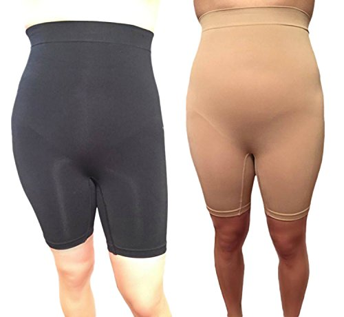 Womens 2 Pack High Waist Thigh Slimmer Shapewear, Tummy Control (2X, 2 Pack Assorted)