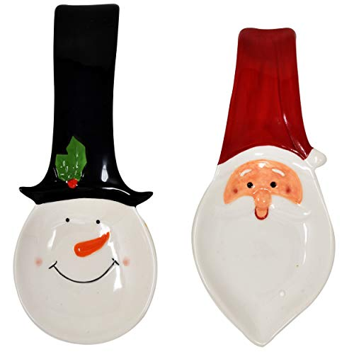 Gift Boutique Ceramic Christmas Spoon Rest Holiday Santa and Snowman Dishes Spoons Holder Winter Kitchen Decor Set of 2 (Rest Holiday Spoon)
