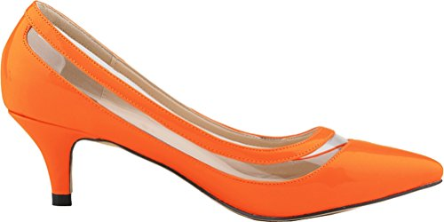 Comfort Dress Toe Kitten Salabobo Work Wedding OL Character Orange Pumps Pionted Womens PU Heel U15nwnqxCp
