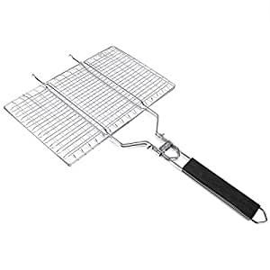 mejorgive NONSTICK BBQ Grilling Basket Portable Stainless Steel Barbacoa Basket