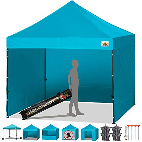 Abccanopy Turquoise 10 X 10 Ez Pop up Canopy Tent Commercial Instant Gazebos with 6 Removable Sides and Roller Bag and 4x Weight Bag