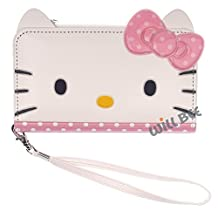 Apple iPhone 6 Plus (5.5inch) Case HELLO KITTY Cute Diary Double Layer Wallet Zipper Purse Mirror Function Synthetic Leather Flip iPhone 6S Plus Cover With Hand Strap (Wallet Face Dot Pink)