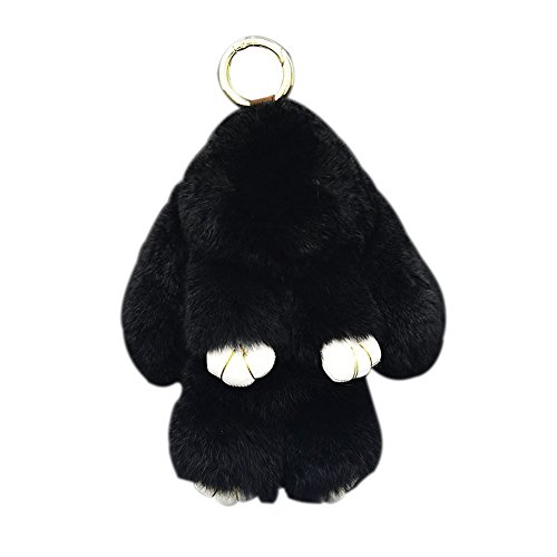 Bunny Keychain Magicub Rabbit Fur Bag Keychain Key Ring Pendant for Handbag Tote Bag (Black)