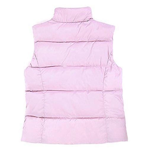 Pluma Ropa Plumón Rosa mangas Chaqueta Moda de para Capa mujeres Sin Chaleco Invierno XFentech wXq8vv