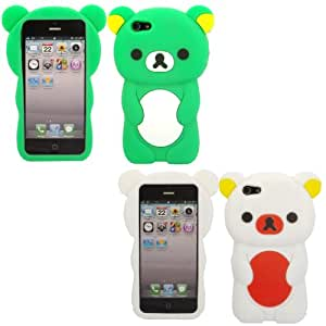2 Pack Teddy Silicona Concha Caso Cubrir Para Apple iPhone 5 5S 5S / Green And White