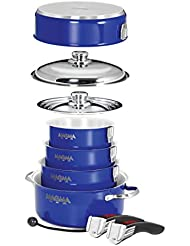 Magma Products Gourmet Nesting 10-Piece Induction Cobalt Blue Stainless Steel Cookware Set