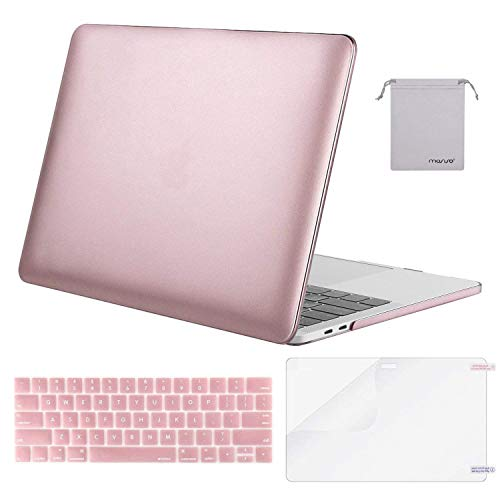 MOSISO MacBook Pro 15 Case 2018 2017 2016 Release A1990/A1707 Touch Bar Models, Plastic Hard Shell & Keyboard Cover & Screen Protector & Storage Bag Compatible Newest Mac Pro 15 Inch, Rose Gold