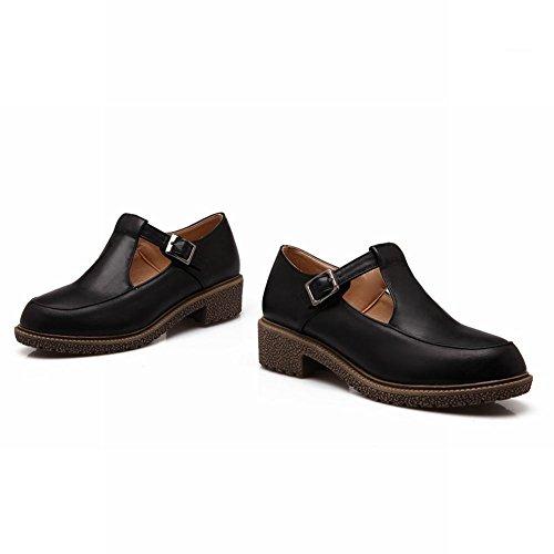 Carol Schoenen Mode Dames Gesp Casual Schattig Comfort Dikke Lage Hak Loafers Schoenen Zwart