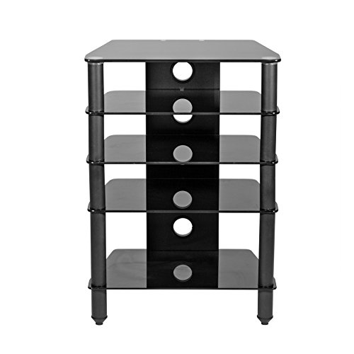 (MMT Hi-Fi Media Rack AV 5-Shelf Glass TV Stand for Flat Screen TV AV Audio Video Separates Turntables Record Players Component Amps Receivers Rack Storage Cabinet)