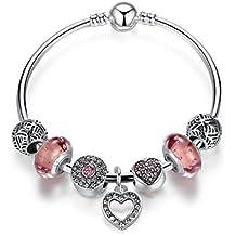 Presentski Silver Plated Charm Bracelets with Pink Cubic Zirconia Flower Lampwork Charm Beads